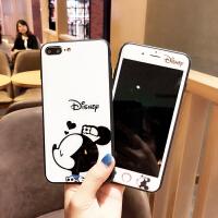 iPhone7/8plus�化膜卡通米奇妮�O果6s防爆玻璃手�C��X全屏前彩膜xsmax可�矍�H男女款 p/plus 5.