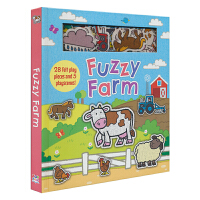 Fuzzy Farm 农场动物 毛绒静电贴玩具书 场景游戏贴贴乐互动书 儿童英语读物 英文原版进口图书