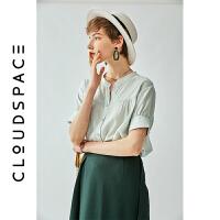 云上生活 夏装短袖圆领浅水绿衬衣直筒夏百搭衬衫女
