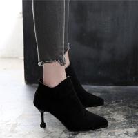 短靴女鞋子尖头马丁靴高跟2019春秋款冬季新款细跟韩版百搭女靴子