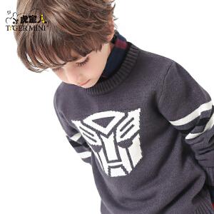 小虎宝儿童装男童套头毛衣儿童外套针织衫中大童秋款新品变形金刚