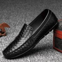 皮鞋男夏季新品豆豆鞋低帮二层牛皮低帮懒人驾车休闲鞋英伦风潮流男士鞋舒适透气