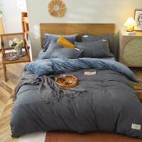 A版全棉色织水洗棉B版奶牛绒珊瑚绒法莱绒四件套学生宿舍三件套床单被罩套装