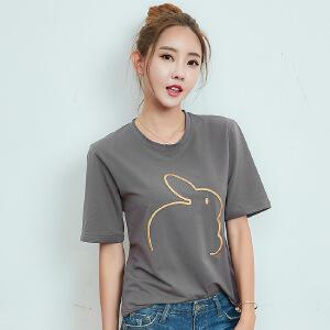 卡茗语夏装短袖t恤女韩版宽松中长袖打底体恤衫新款刺绣上衣女装
