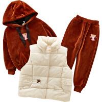 女童三件套秋冬装小女孩时髦套装儿童装洋气潮衣