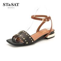 星期六(ST&SAT)夏季专柜同款牛皮革粗低跟凉鞋女SS82115621