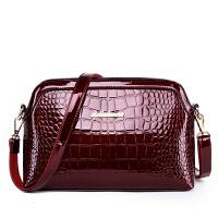 妈妈包包潮时尚休闲女包单肩包斜挎包手提女士漆皮包亮皮 酒红色 518