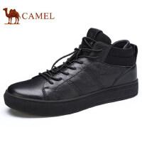 camel 骆驼男鞋秋季新品金属酷炫高帮潮靴运动休闲牛皮板鞋