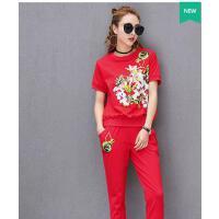 长裤宽松跑步服两件套印花圆领短袖韩版清新时尚休闲