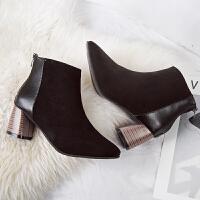 加绒马丁靴女英伦风裸靴子女士拉链短靴韩版百搭高跟女靴冬季女鞋