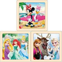 迪士尼拼图玩具 9片木制框拼标准版三合一(米妮2667+公主2669+冰雪2670)
