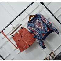女装小香风时尚两件套百搭针织毛衣短裙套装学生2018新品 图片色套装