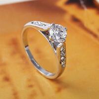 气质四爪镶嵌结婚戒指女戒子指环 仿真钻戒时尚饰品