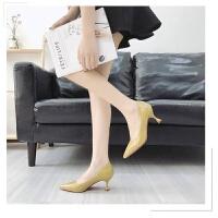 高跟鞋女夏细跟2019新款韩版中跟亮皮红色婚鞋春秋浅口单鞋小皮鞋 35 女款