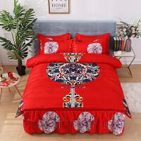 床上用品床裙四件套纯棉全棉宿舍寝室1.5/1.8m网红被套4件套
