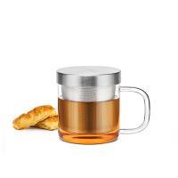 尚明加厚玻璃杯水杯 带盖过滤不锈钢内胆玻璃茶杯花茶杯办公口杯S049