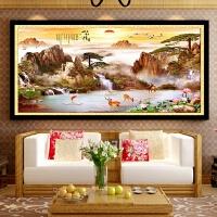 新款大幅流水生财风景画十字绣客厅装饰满钻山水情鹿鹤财兴钻石画