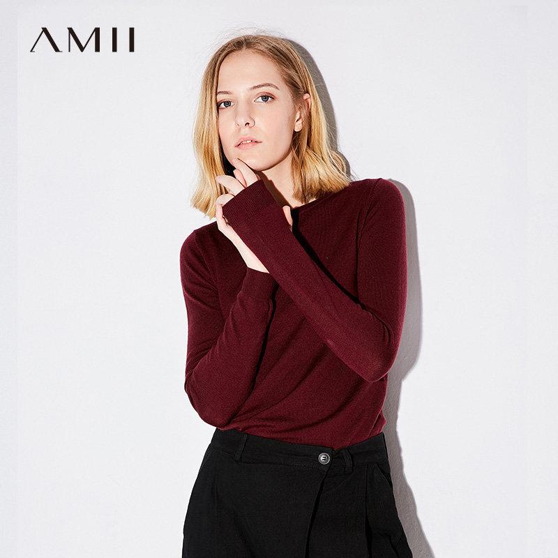 Amii[极简主义]2017秋新品简约修身百搭圆领打底羊毛衫11762771