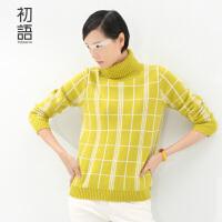 初语冬季新品 网格格纹高领套头毛衣针织衫毛衫女85303230*