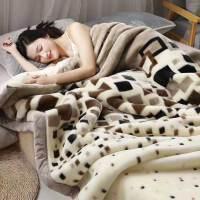 珊瑚毛绒毯子冬季用加厚法兰绒拉舍尔毛毯加绒床单人保暖双层被子【】