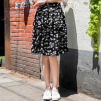 马克华菲女装小雏菊半身裙2021新款夏季遮胯百褶碎花裙高腰显瘦
