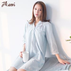 顶瓜瓜睡衣女纯棉衬衫裙夏 七分袖可外穿清新可爱竖条纹睡衣女