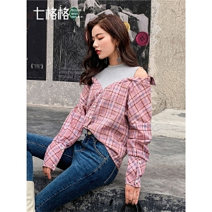 七格格衬衫女春装2019新款不规则拼接韩版宽松复古长袖格子上衣潮