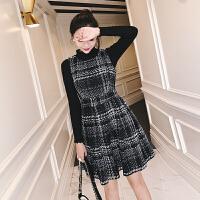 小香风套装女时尚女神街拍名媛气质毛衣背心裙网红两件套装秋冬季 黑色 两件套