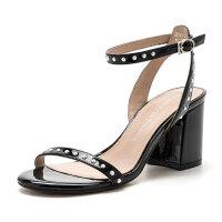 【领券减100】D:Fuse/迪芙斯夏季羊皮露趾粗高跟凉鞋女鞋DF72115330