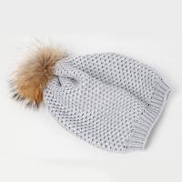 秋冬针织毛线可爱男女童毛球帽子