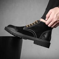 马丁靴男中帮短靴英伦复古潮2019新款高帮鞋工装雪地沙漠靴子
