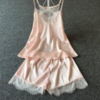 女士夏季性感镂空蕾丝美背吊带短裤两件小套装睡衣家居服