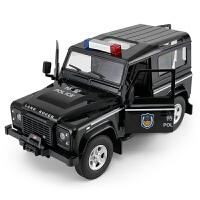 路虎卫士警车大号警车模型男孩玩具遥控汽车越野电动声光漂移