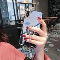 网红华为荣耀10手机壳nova4水钻3e镜面8x带镜子10支架v20女款4e潮 【 荣耀v20】玻璃镜面 水钻镜框指环