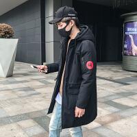 日系潮牌2017秋冬韩版修身立领胶印中长款棉衣外套男