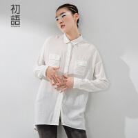 初语中长款纯色宽松衬衫冬装新款上衣 弧形下摆长袖衬衣女8530212002