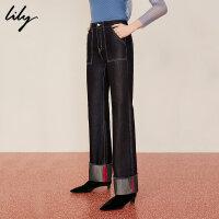 【限时一口价228元】全场叠加100元券 Lily春新款女装商务金属光感撞色翻边阔腿牛仔裤119100G5213