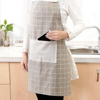 韩版时尚家居棉麻围裙 男女厨房做饭防油罩衣防污围腰