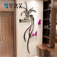 3D立体墙贴蝴蝶吊兰花亚克力墙贴画房间客厅装饰玄关沙发电视背景墙装饰壁画J