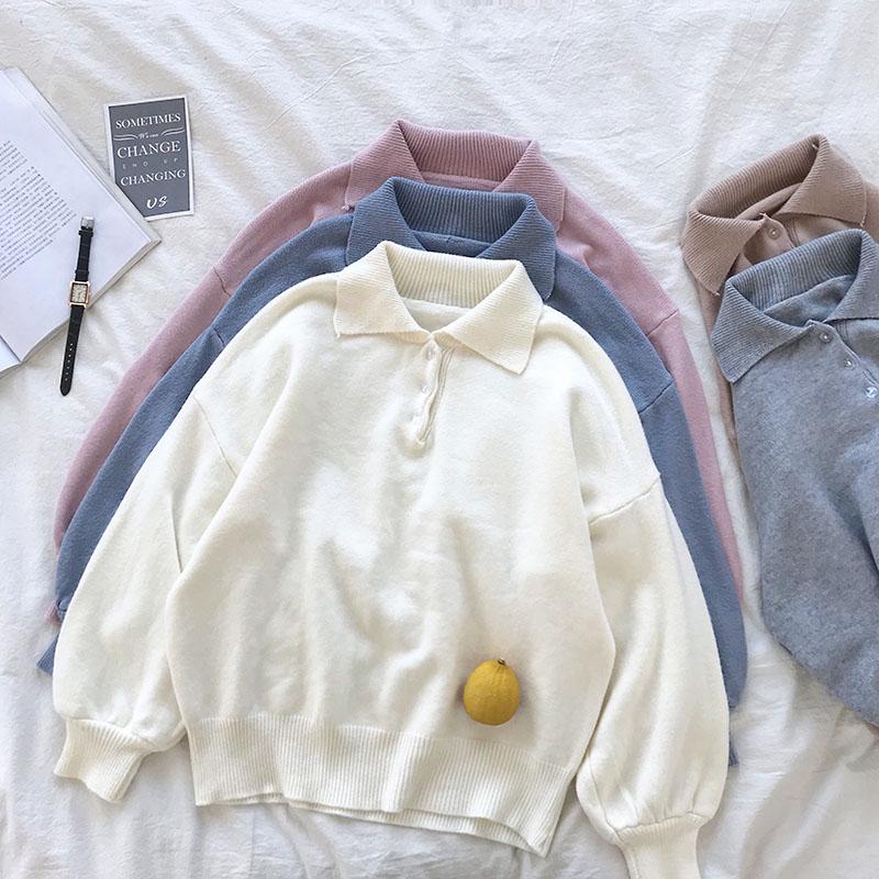 2018秋季新款韩版软妹日系Polo领翻领纯色灯笼袖宽松针织衫毛衣女