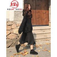 胖mm秋冬装2018新款大码女装遮肉连衣裙洋气网红两件套装减龄时髦 黑色1