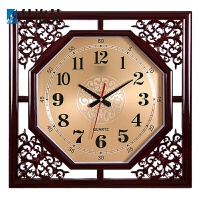 挂钟客厅大方形复古创意中式家庭电子石英钟表日历时钟挂表家用挂墙钟表现代简约挂钟J 方形高光 18英寸(直径45.5厘米