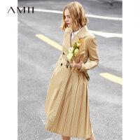 【预估价308元】Amii极简设计感小众气质风衣女2019秋季新款全棉百褶配腰带外套