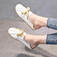 豆豆鞋女2019夏季新款百搭韩版平底单鞋学生两穿套脚无后跟半拖潮