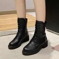 帅气马丁靴女英伦风厚底皮面短靴女黑色系带机车靴子中筒骑士靴潮 黑色
