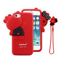 法芘兔 苹果5s手机壳iphone5s保护套五带挂绳女款卡通5se硅胶软壳