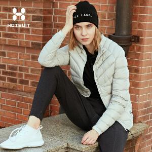 美国HOTSUIT运动羽绒服女2018冬季新款修身短款轻薄保暖羽绒外套