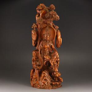 天然黄杨木精雕自在观音摆件