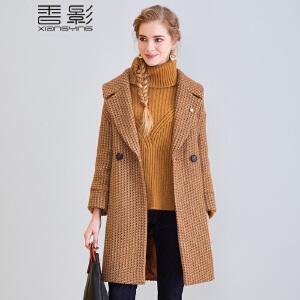 香影千鸟格毛呢外套 2017冬装新款西装领双排扣中长款大衣时尚女+