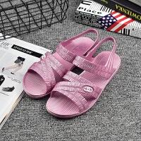 夏季妈妈凉鞋中老年平底塑料凉鞋女软底老人鞋舒适纺织工作鞋